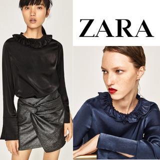 ザラ(ZARA)のZARA フリルネックラインブラウス 濃ブルー L 大きいサイズ(シャツ/ブラウス(長袖/七分))