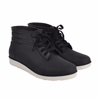 【感謝★特売】スニーカーみたいなレインシューズ 防水(黒)(長靴/レインシューズ)