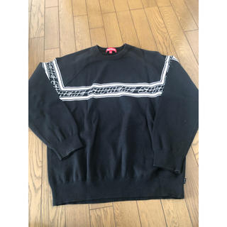 シュプリーム(Supreme)のSupreme striped raglan sweater M black(ニット/セーター)