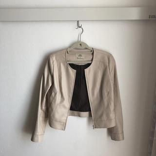 CLEAR IMPRESSION - ノーカラーフェイクレザージャケット