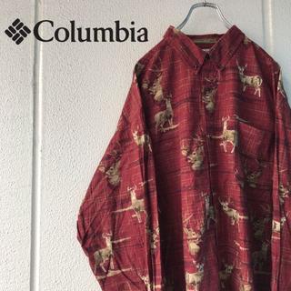 Columbia - Columbia コロンビア 90's トナカイ柄 総柄シャツ 動物柄