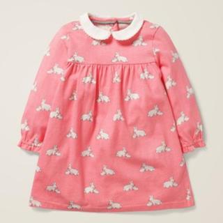 プチバトー(PETIT BATEAU)のbaby boden 新品未使用 うさぎ 丸襟 長袖 ワンピース ピンク(ワンピース)