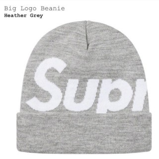 Supreme - Supreme Big Logo Beanie Heather Grey