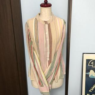 アンティックバティック(Antik batik)のantik batik フランス マルチストライプ ノーカラー シャツ(シャツ/ブラウス(長袖/七分))