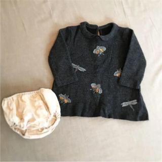 ザラキッズ(ZARA KIDS)のZara baby トンボ刺繍入りワンピース ブルマ付き(ワンピース)