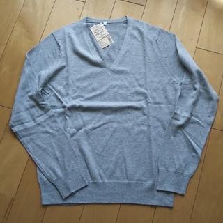 MUJI (無印良品) - 無印良品 Vネックセーター ライトグレー L