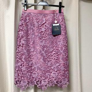 ジャスグリッティー(JUSGLITTY)のジャスグリッティー新品フラワーレースタイトスカート1Sピンクjusglitty(ひざ丈スカート)