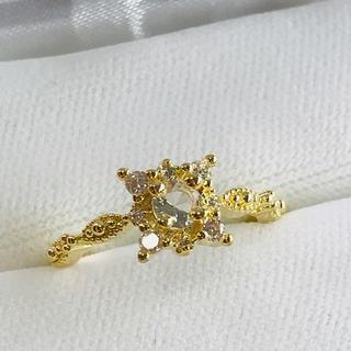 ミル打ち スクエア ジルコンリング レディース 指輪(リング(指輪))