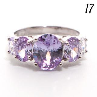 Y17 リング 17号 人工石 ラベンダーアメジスト 5粒 アウトレット(リング(指輪))