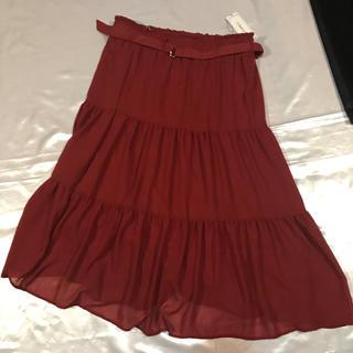 ◆新品タグ付き◆大きいsize4L◆ボルドーロングスカート◆ベルト付き(ロングスカート)