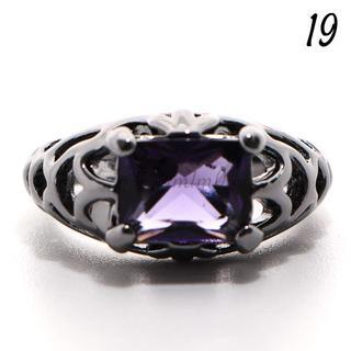 Y1 リング 19号 人工石 アメジスト ブラックゴールド 大きいサイズ(リング(指輪))