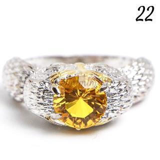 Y21 リング 22号 梟 人工石 イエロー シルバー 大きいサイズ(リング(指輪))