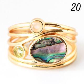 G22 リング 20号 個性的 シェル 合成 ゴールド 大きいサイズ(リング(指輪))