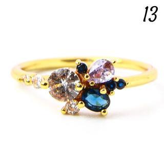 G24 リング 13号 人工石 サファイア イエローゴールド 華奢(リング(指輪))