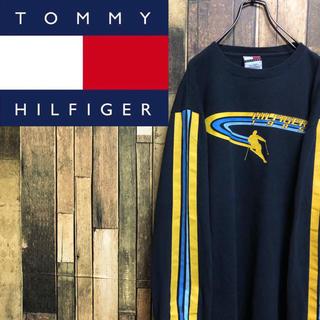 トミーヒルフィガー(TOMMY HILFIGER)の【激レア】トミーヒルフィガー☆サイドラインロゴプリントロンT 90s(Tシャツ/カットソー(七分/長袖))