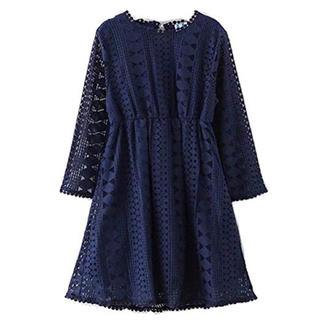 【大人気】子供服 フォーマル レース ワンピース ドレス ネイビー 110cm(ワンピース)