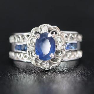 Pt900 プラチナ サファイヤ ダイヤモンド リング(リング(指輪))