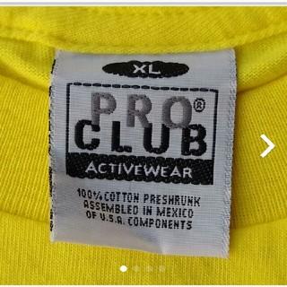 PRO CLUB Tシャツ XL イエロー アメリカ規格 メキシコ製(Tシャツ/カットソー(半袖/袖なし))