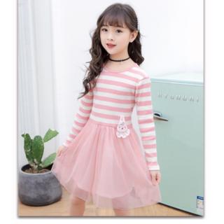 ニット長袖ワンピース ピンク ボーダーシフォンスカート(ワンピース)