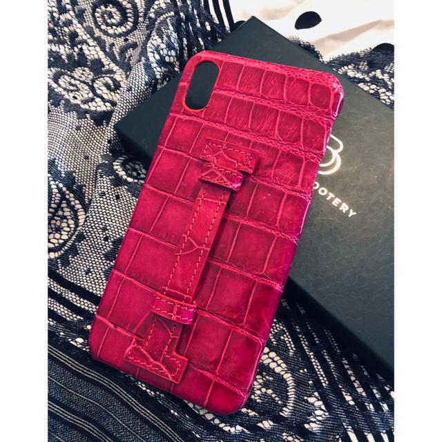iphone8 液体 ケース 、 iPhone XS Max ケース クロコダイル ワニ皮 フューシャの通販