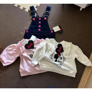 バービー(Barbie)の新品★ Barbie トレーナー2枚+ジャンパースカートセット 90cm(ワンピース)