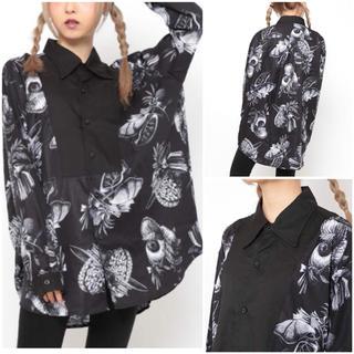 ファンキーフルーツ(FUNKY FRUIT)のマッドサイエンス 臓器 切り替え デザインシャツ 黒 drug honey(シャツ/ブラウス(長袖/七分))
