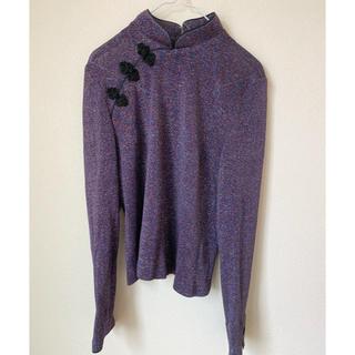 vintage カラーラメ紫 チャイナトップス 古着 ラメチャイナ(カットソー(長袖/七分))