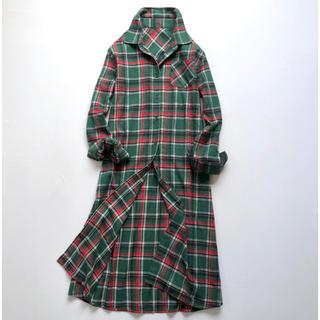 早い者勝ち❤️起毛感チェック柄長袖シャツワンピ グリーン系 サイズLL•XL(ロングワンピース/マキシワンピース)