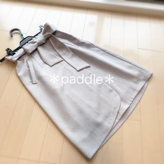 ミッシュマッシュ(MISCH MASCH)のロディスポット 今期ウエストリボン コクーンスカート ストライプ(ひざ丈スカート)