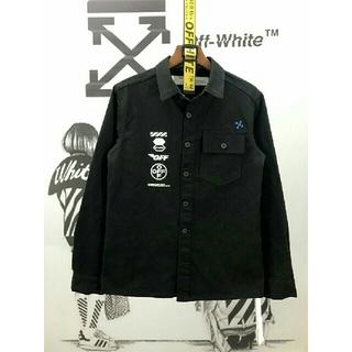 オフホワイト(OFF-WHITE)のOFF WHITE    黒いシャツ  秋コーデ   メンズ長袖 (シャツ)
