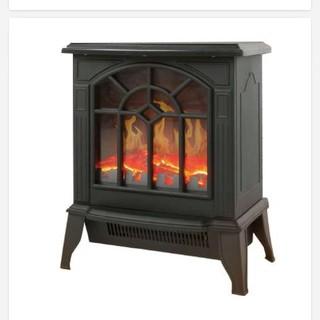 暖炉型ファンヒーター ブラウン(電気ヒーター)