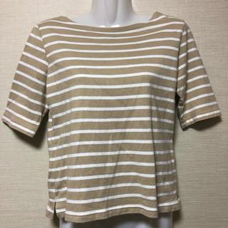 ベルメゾン - 薄茶ボーダー 七分袖Tシャツ
