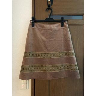 ストラ(Stola.)の膝丈スエード刺繍スカート(ひざ丈スカート)