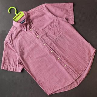 赤 レッド ギンガムチェック ワイシャツ Yシャツ カッターシャツ Lサイズ