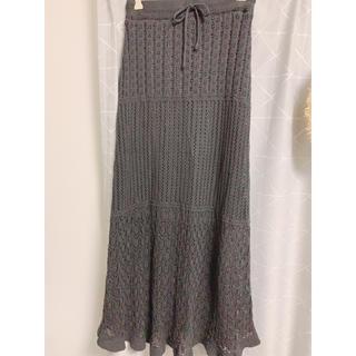 GU - スカシ編み ニットロングスカート 美品