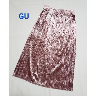 GU - GU クラッシュベロアプリーツスカート M ピンク