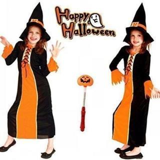 ハロウィン 女の子 衣装 可愛い 魔法使い 魔女 ロング 子供 キッズ L(衣装一式)