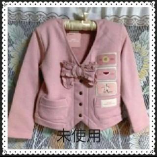ピンクハウス(PINK HOUSE)の日本製ベビーピンクハウス100ガーリー!リボンがアクセント羽織ニット上着アウター(ジャケット/上着)