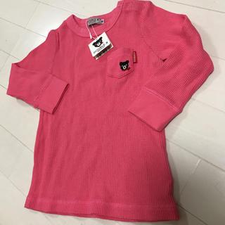mikihouse - 新品 ワッフル シャツ ロンT 90 ピンク スナップボタンあり