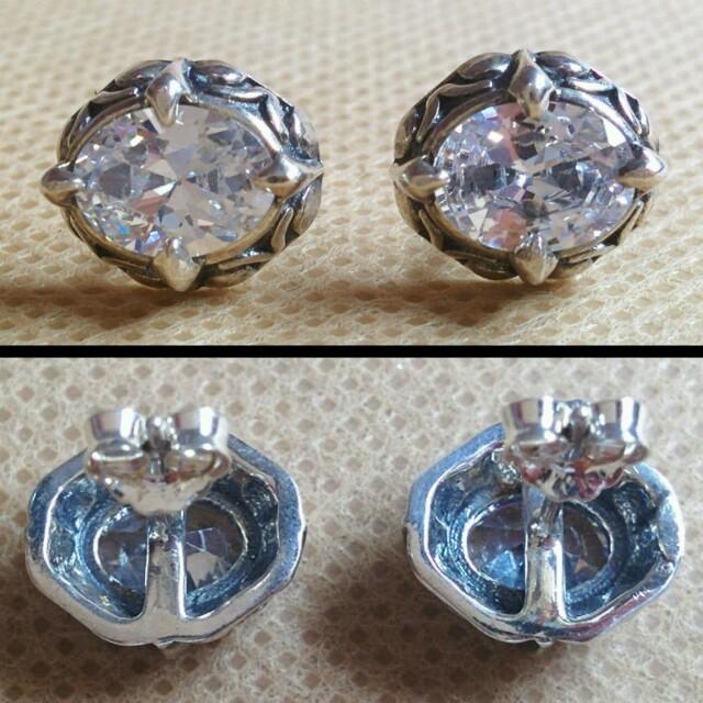 シルバー925 ジルコン ピアス メンズのアクセサリー(ピアス(両耳用))の商品写真