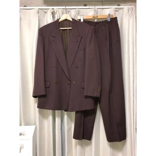 ジョンローレンスサリバン(JOHN LAWRENCE SULLIVAN)の80s vintage ダブル セットアップ スーツ 小豆色 パープル(セットアップ)