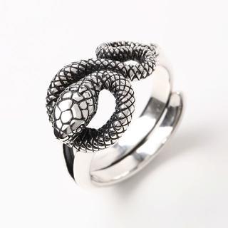 (19号) シルバー リング スネーク 925 メンズ 蛇 レディース 指輪(リング(指輪))