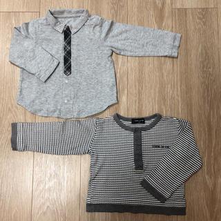 コムサイズム(COMME CA ISM)のコムサイズム ロンT 90&95サイズ 長袖2着セット Tシャツ ネクタイ風(Tシャツ/カットソー)