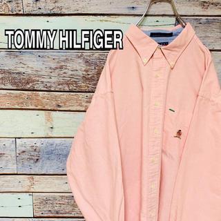 トミーヒルフィガー(TOMMY HILFIGER)のオールドトミー 90s BDシャツ 長袖シャツ 刺繍ロゴ ピンク XL(シャツ)