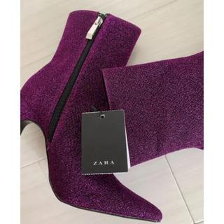 ザラ(ZARA)のZARA ブーツ ラメ 新品 ピンク パープル グリッター キラキラ(ブーツ)