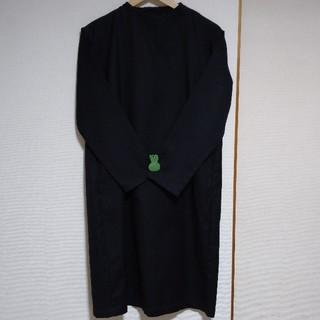 無印良品/新疆綿二重織りワンピース・黒