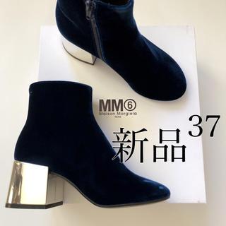 Maison Martin Margiela - 新品/37 MM6 メゾン マルジェラ ベロア ミラーヒール ブーツ ネイビー