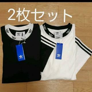 adidas - 2枚組 ビッグサイズ リブ柄 Tシャツ