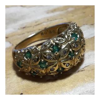 ゴージャス❗️ゴールド✨エメラルド&ダイヤモンド リング 指輪 約11.5号 金