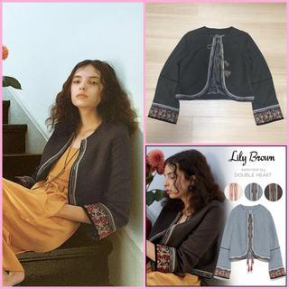 リリーブラウン(Lily Brown)の新品未使用!秋モデルコード刺繍ノーカラージャケット、snidel(ノーカラージャケット)